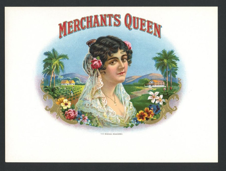 Merchants Queen Inner Cigar Box Label