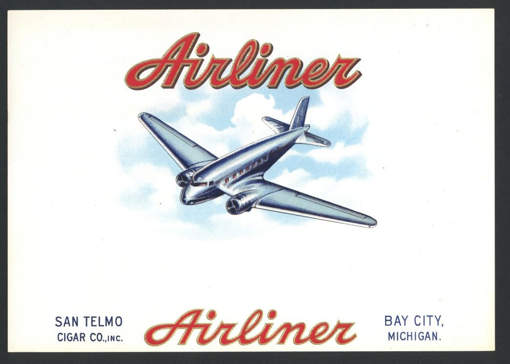 Airliner Inner Cigar Box LabeL