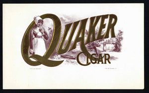 Quaker Cigar Brand Inner Cigar Box Label