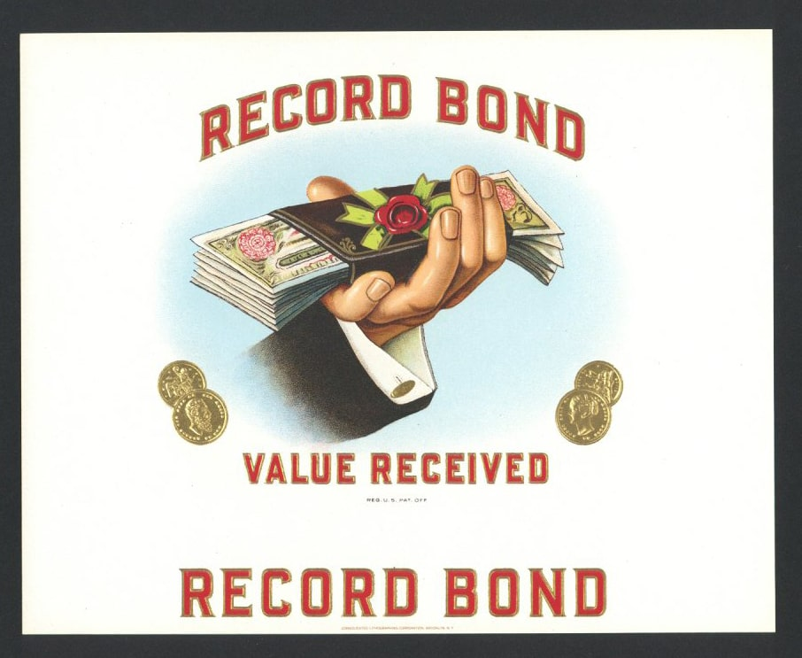 Record Bond Inner Cigar Box Label