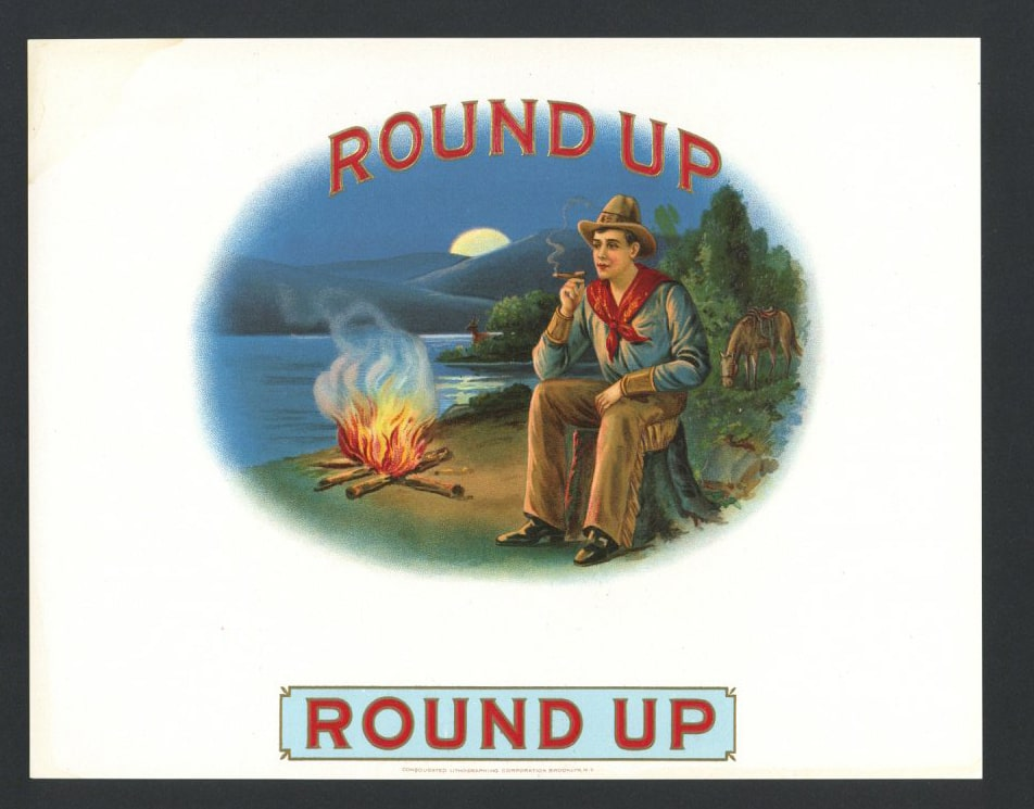 Round Up Inner Cigar Box Label