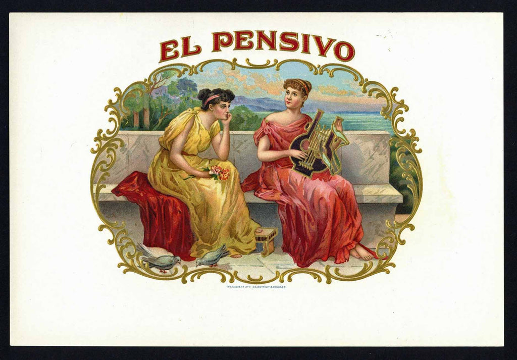 El Pensivo Brand Inner Cigar Box Label