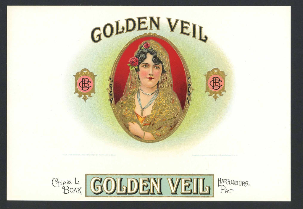 Golden Veil Brand Inner Cigar Box Label