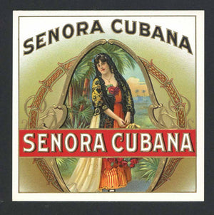 Senora Cubana Brand Outer Cigar Box Label