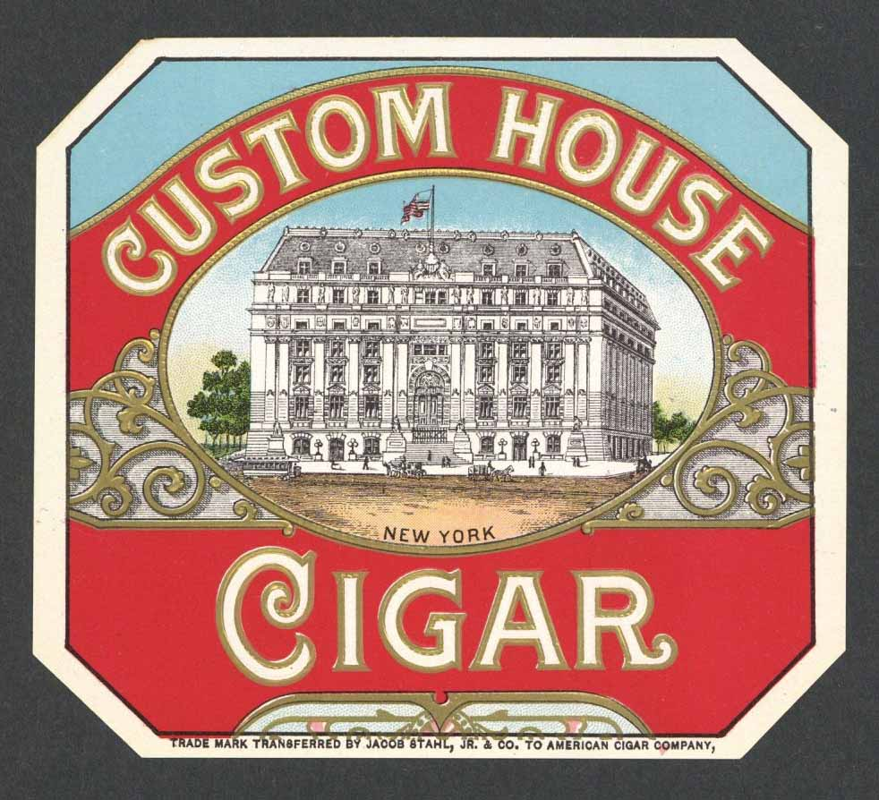 Custom House Brand Outer Cigar Box Label