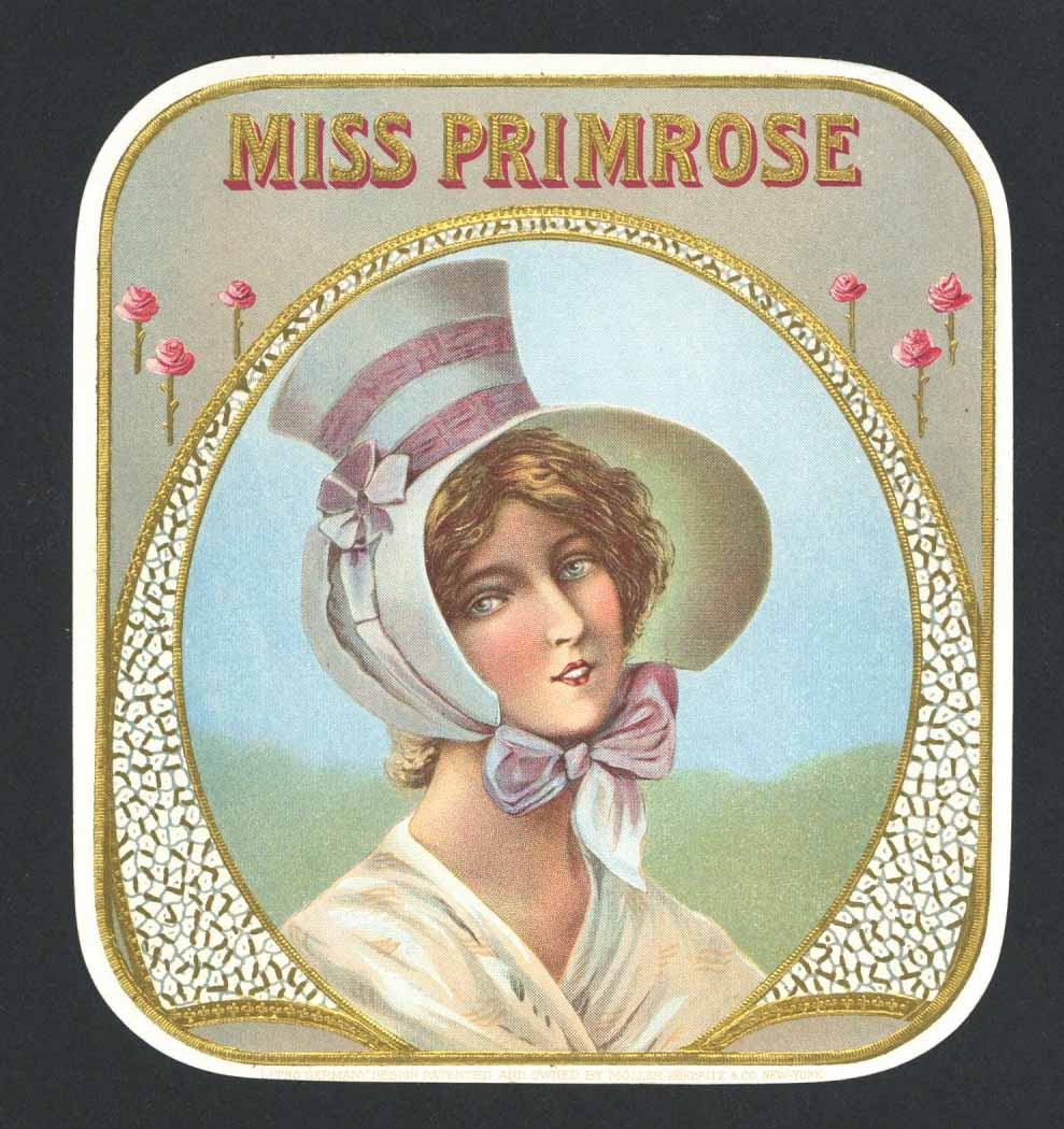 Miss Primrose Brand Outer Cigar Box Label