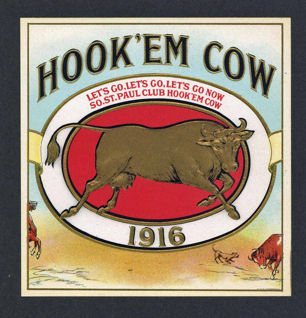 Hook'em Cow Brand Outer Cigar Label