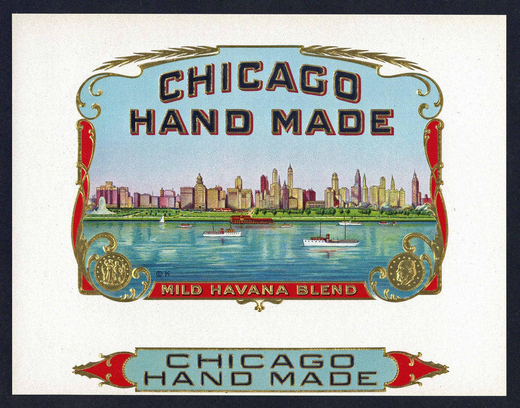 Chicago Hand Made Brand Inner Cigar Box Label