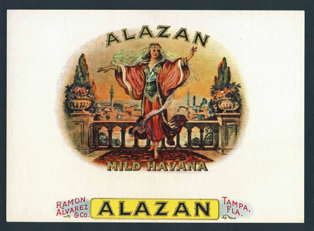 Alazan Brand Inner Cigar Box Label