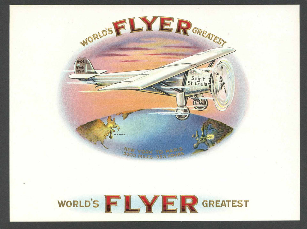 World's Greatest Flyer Brand Inner Cigar Box Label