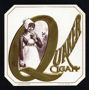 Quaker Cigar Brand Outer Cigar Box Label