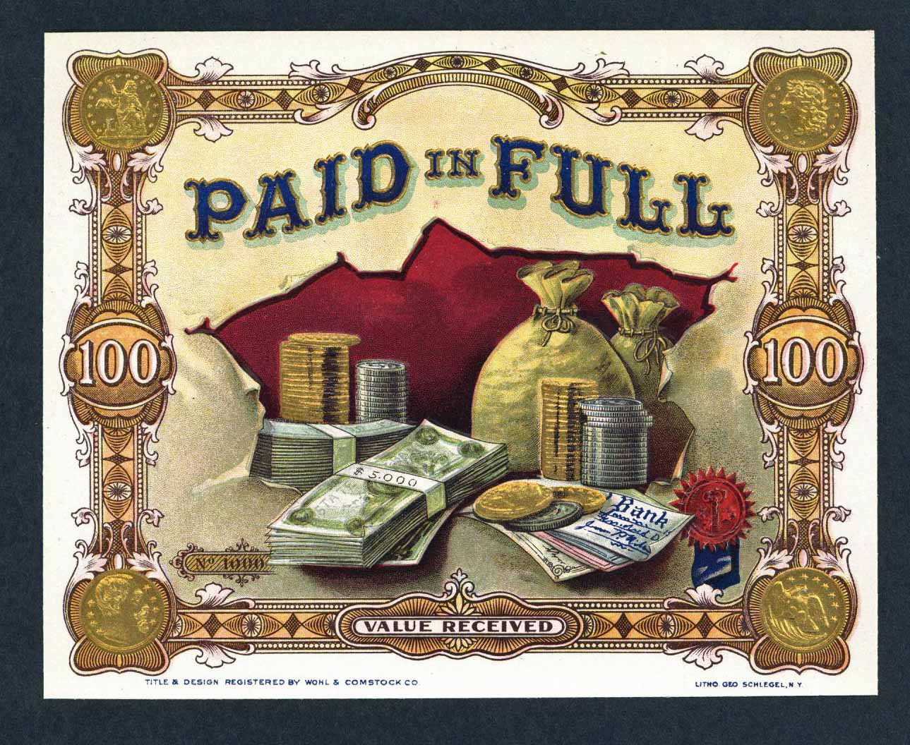 Paid In Full Brand Cigar Box Label