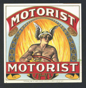 Motorist Brand Outer Cigar Label
