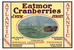 Atlantic Brand Vintage New Jersey Cranberry Crate Label, 1/4