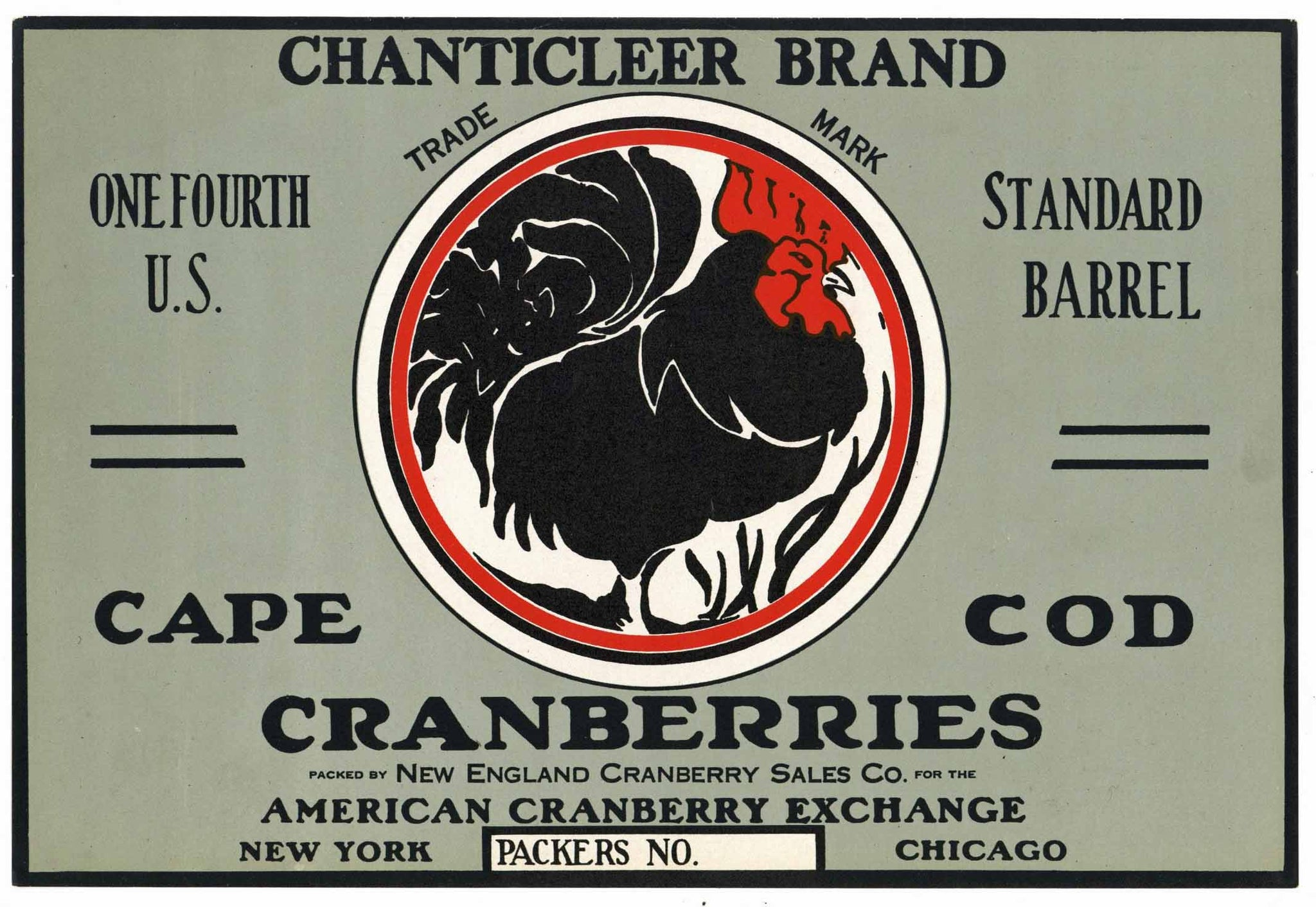 Chanticleer Brand Vintage Cape Cod Cranberry Crate Label, 1/4