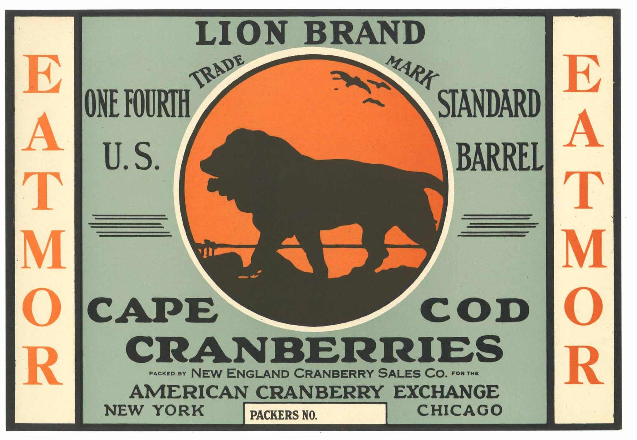 Lion Brand Vintage Cape Cod Cranberry Crate Label, 1/4, o