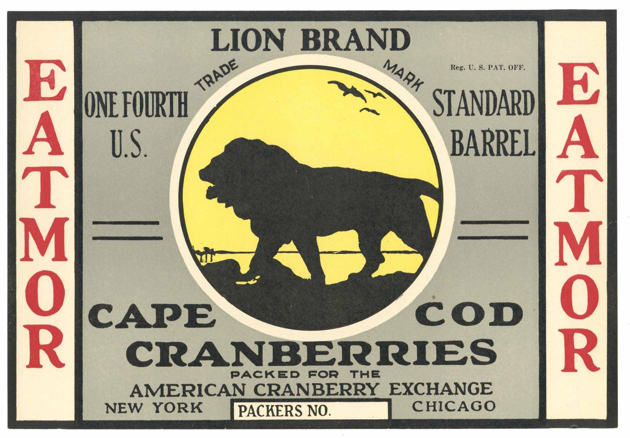 Lion Brand Vintage Cape Cod Cranberry Crate Label, 1/4, yellow
