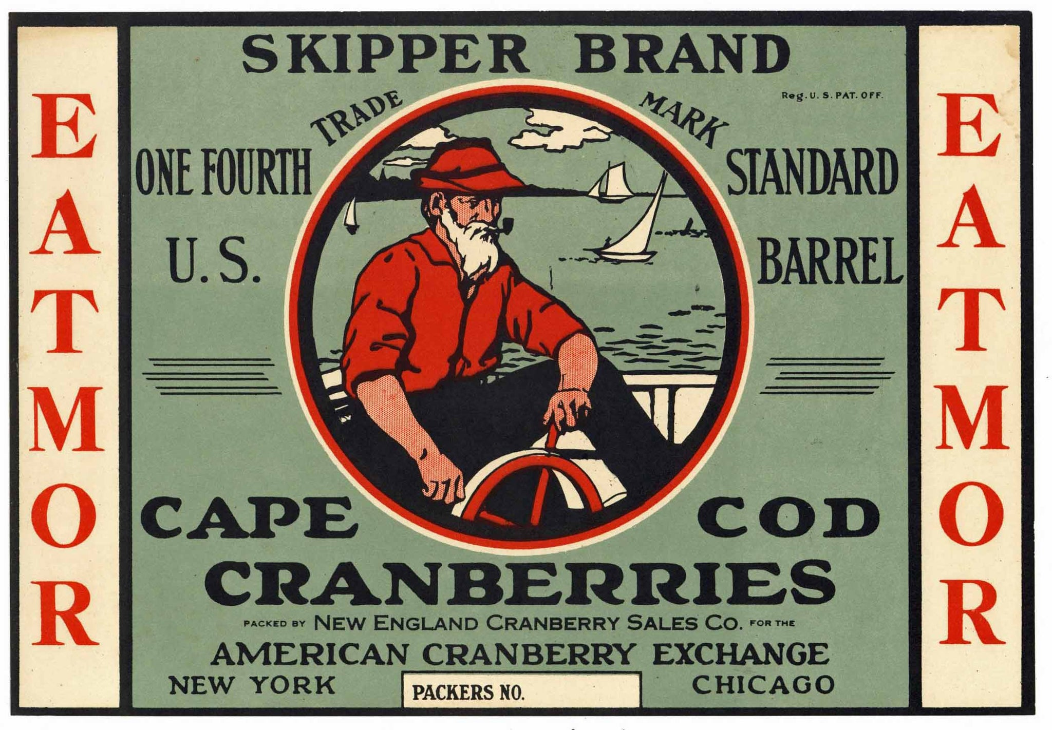 Skipper Brand Vintage Cape Cod Cranberry Crate Label, 1/4, grey
