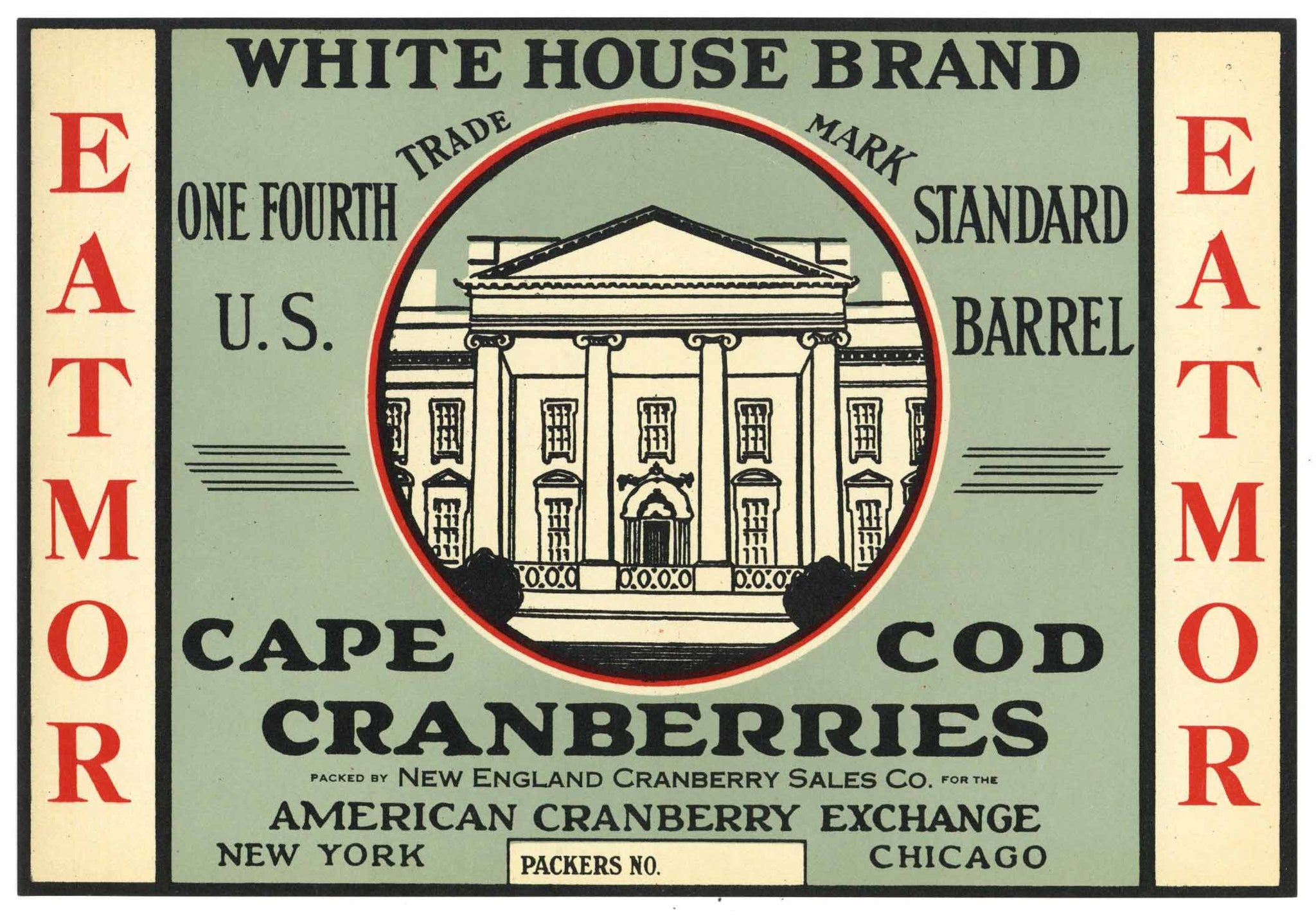 White House Brand Vintage Cape Cod Cranberry Crate Label, 1/4