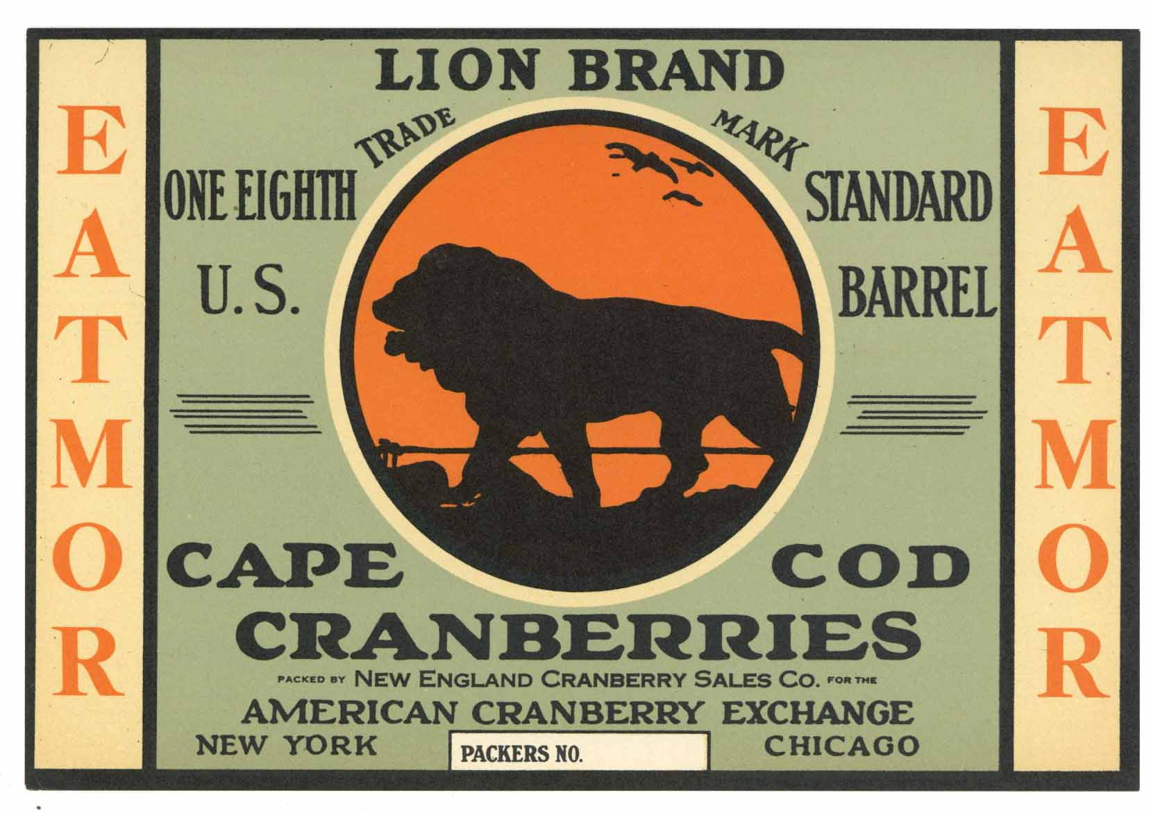 Lion Brand Vintage Cape Cod Cranberry Crate Label, 1/8, smaller