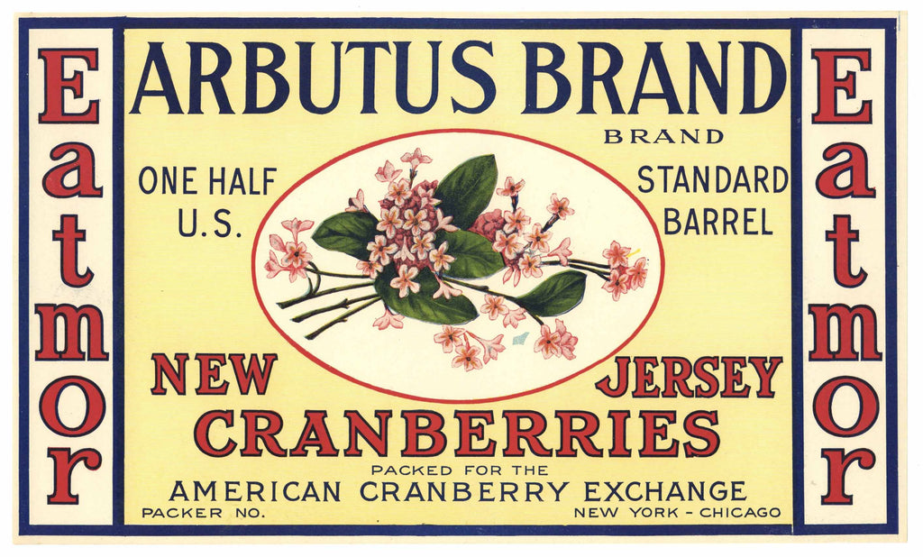 Arbutus Brand Vintage New Jersey Cranberry Crate Label, 1/2