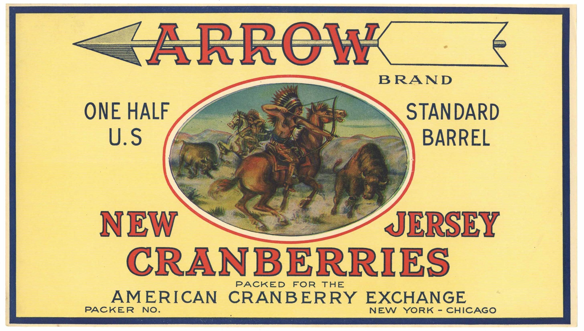 Arrow Brand Vintage New Jersey Cranberry Crate Label, 1/2
