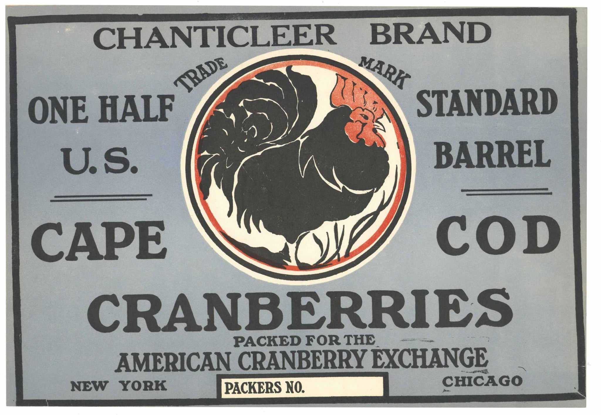 Chanticleer Brand Vintage Cape Cod Cranberry Crate Label, 1/2