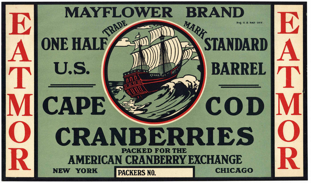 Mayflower Brand Vintage Cape Cod Cranberry Crate Label, 1/2