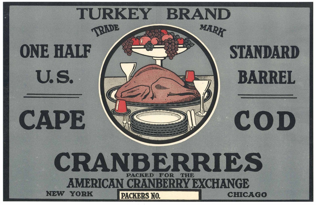 Turkey Brand Vintage Cape Cod Cranberry Crate Label, 1/2