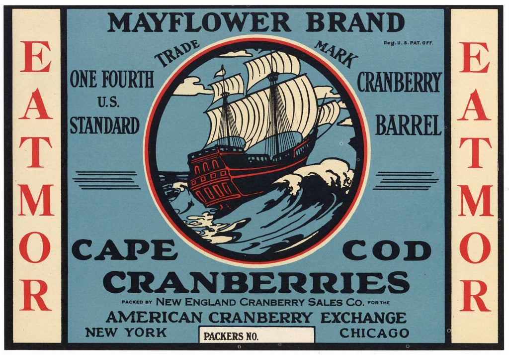 Mayflower Brand Vintage Cape Cod Cranberry Crate Label, 1/4, blue