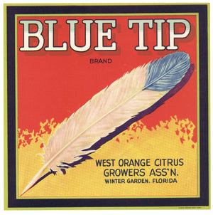 Blue Tip Brand Vintage Winter Garden Florida Citrus Crate Label