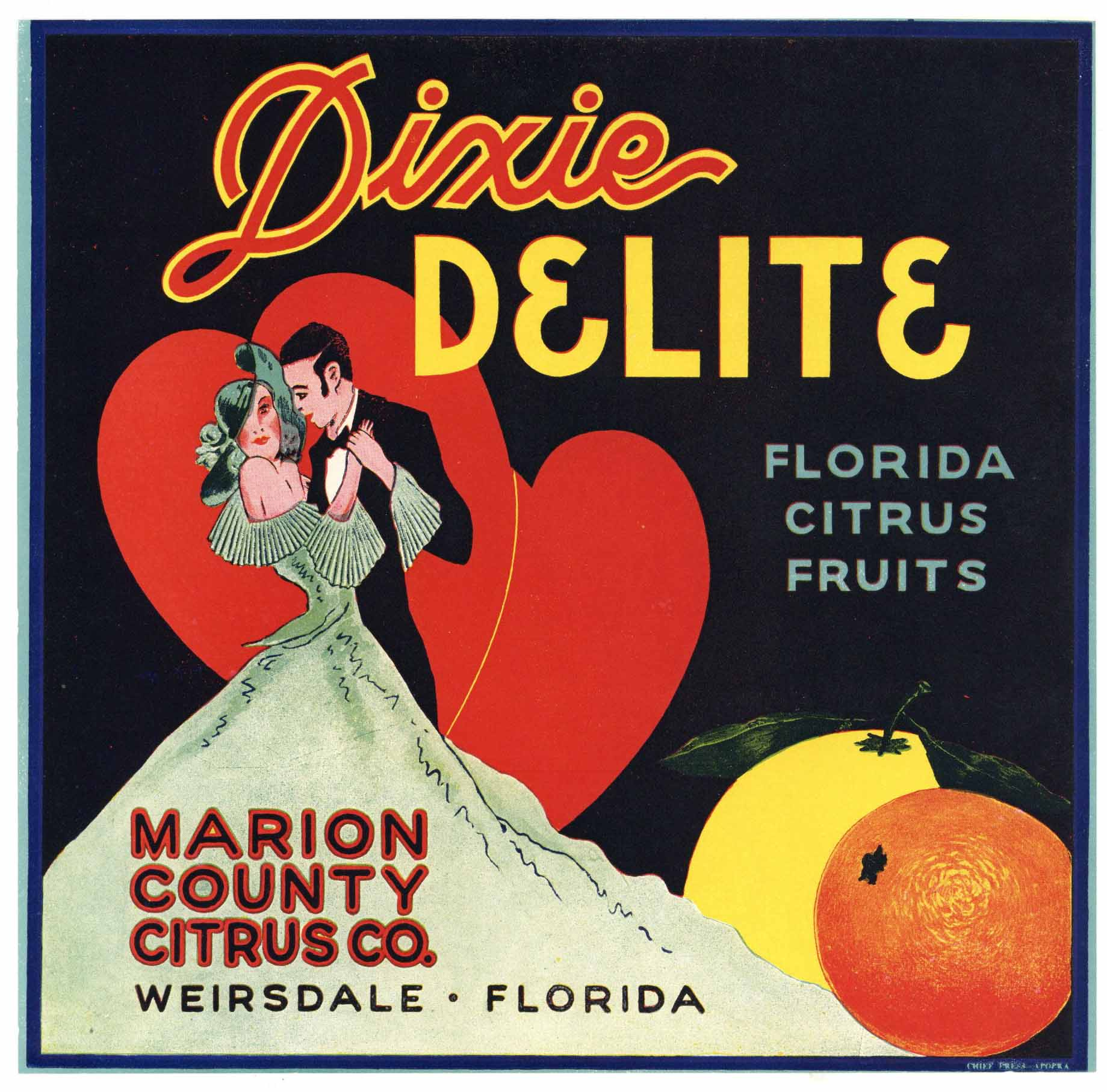 Dixie Delite Brand Vintage Weirsdale Florida Citrus Crate Label