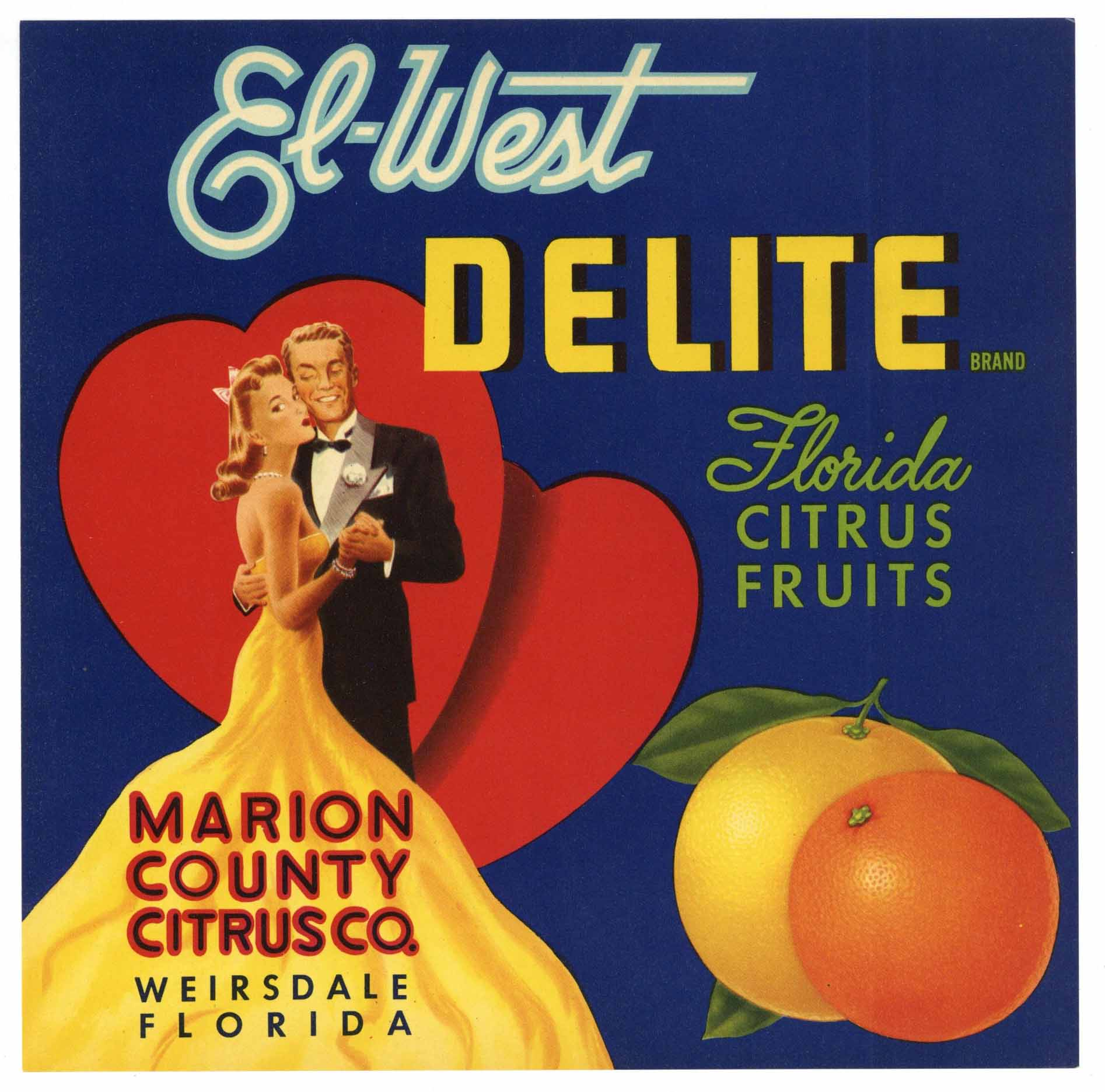 El-West Delite Brand Vintage Weirsdale Florida Citrus Crate Label