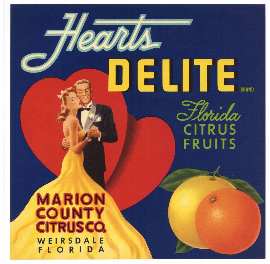 Hearts Delite Brand Vintage Florida Citrus Crate Label, L