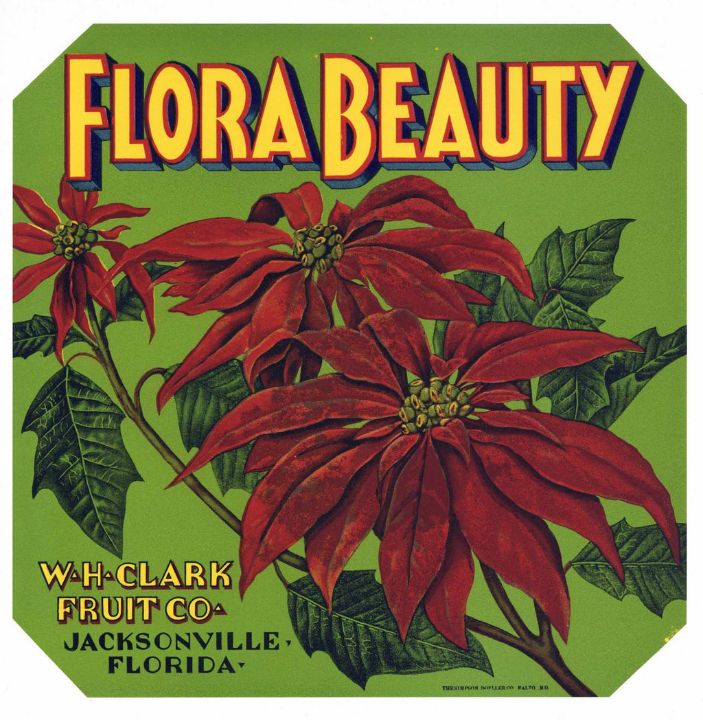 Flora Beauty Brand Vintage Jacksonville Florida Citrus Crate Label