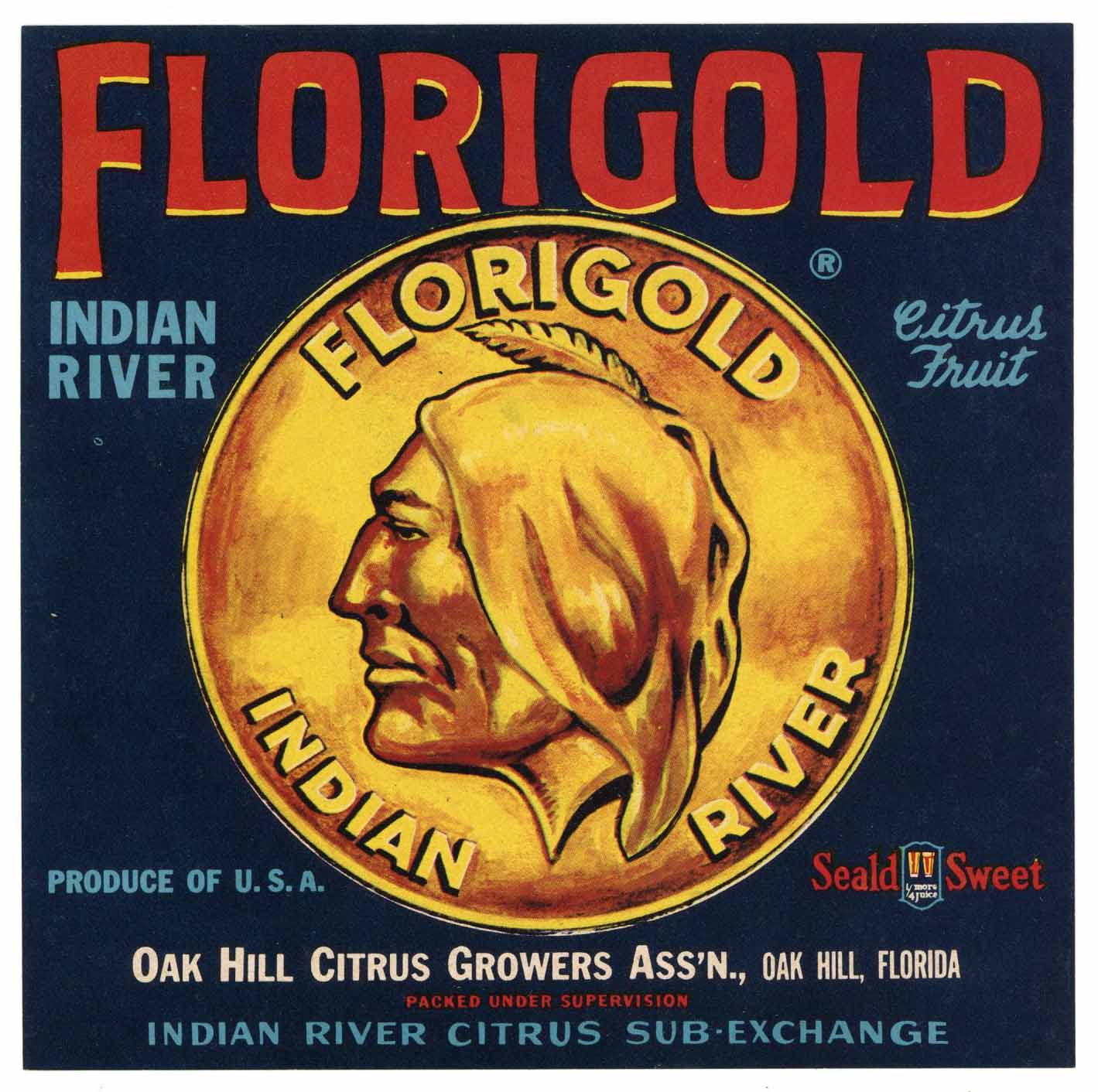 Florigold Brand Vintage Oak Hill Florida Citrus Crate Label, 7x7
