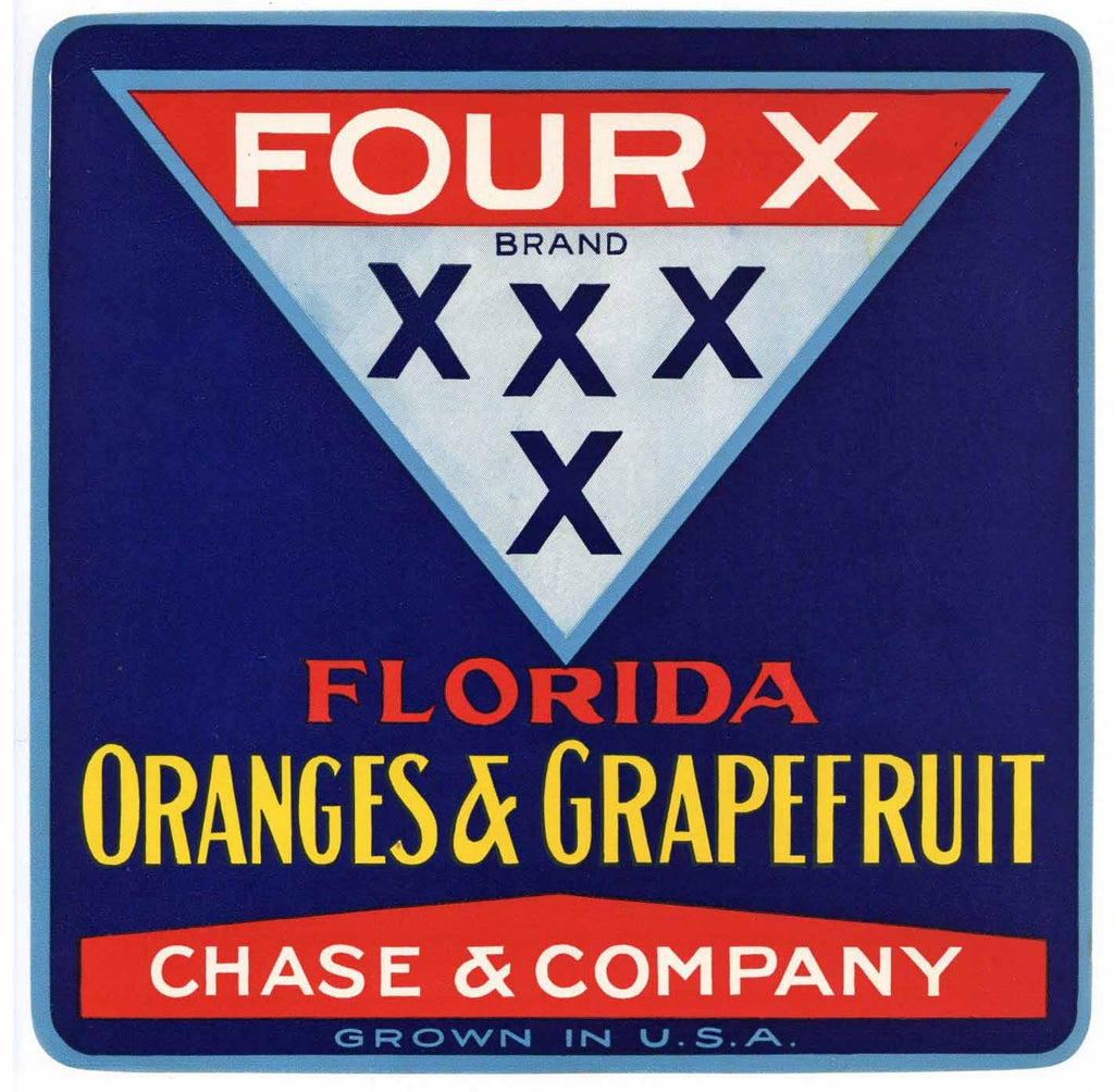 Four X Brand Vintage Florida Citrus Crate Label