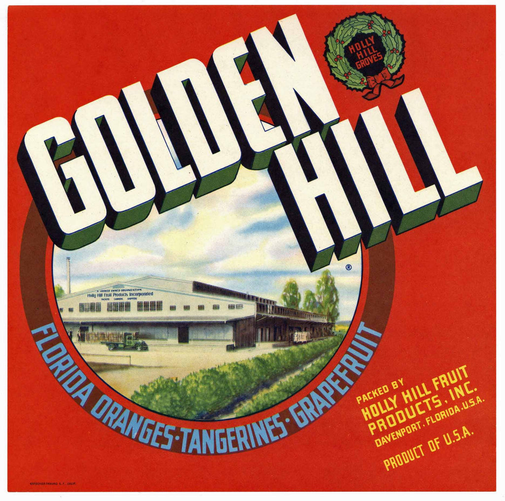 Golden Hill Brand Vintage Davenport Florida Citrus Crate Label