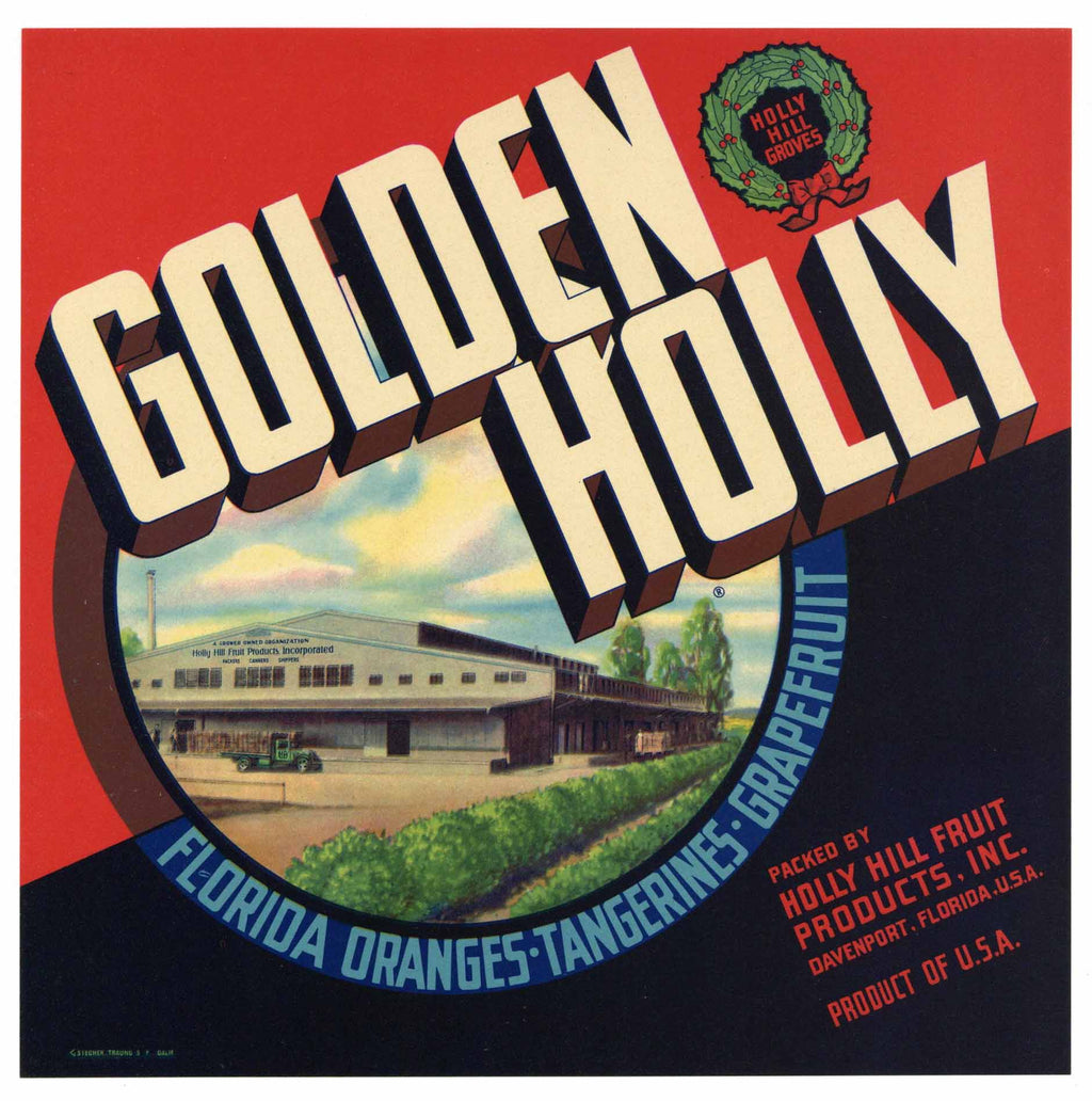 Golden Holly Brand Vintage Davenport Florida Citrus Crate Label