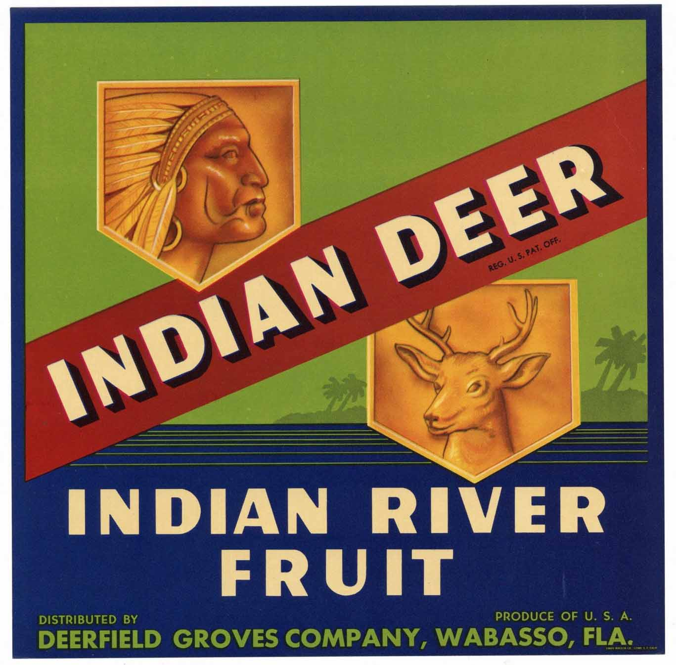 Indian Deer Brand Vintage Wabasso Florida Citrus Crate Label, n