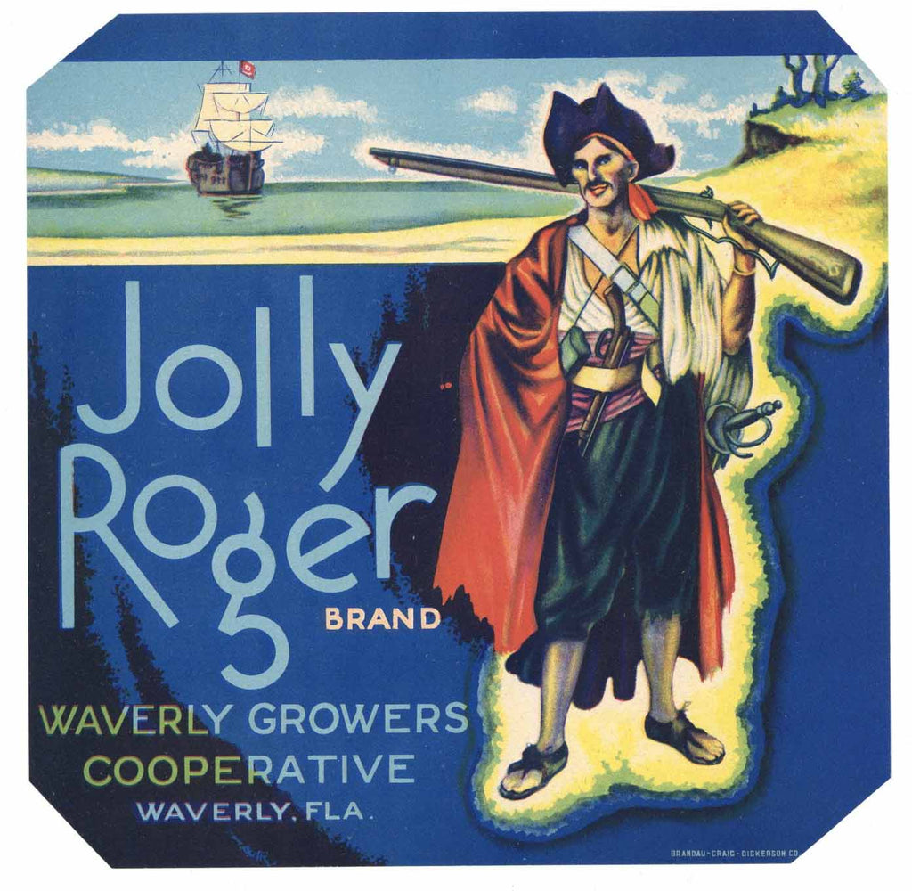 Jolly Roger Brand Vintage Waverly Florida Citrus Crate Label