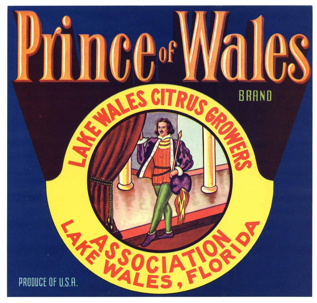 Prince of Wales Brand Vintage Lake Wales Florida Citrus Crate Label