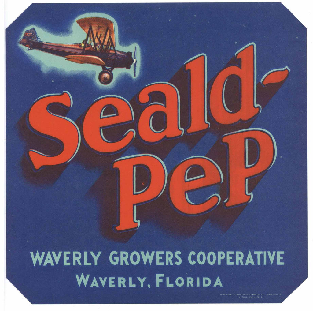 Seald Pep Brand Vintage Waverly Florida Citrus Crate Label