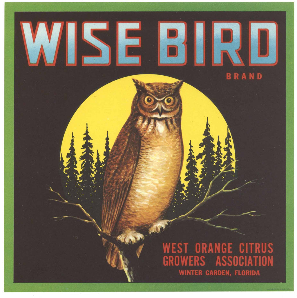 Wise Bird Brand Vintage Winter Garden Florida Citrus Crate Label