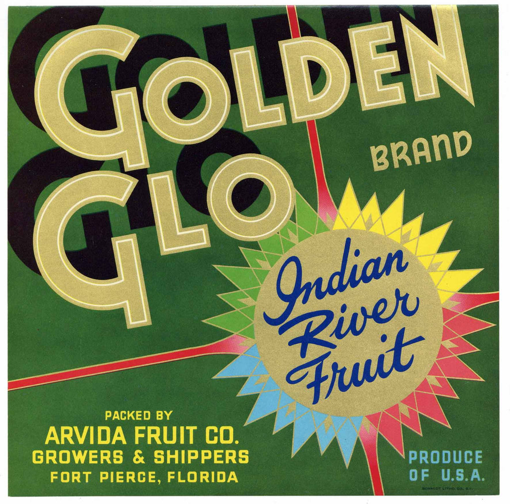 Golden Glo Brand Vintage Fort Pierce Florida Citrus Crate Label