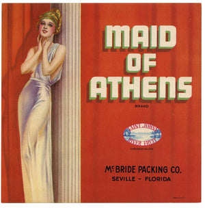 Maid of Athens Brand Vintage Seville Florida Citrus Crate Label, L