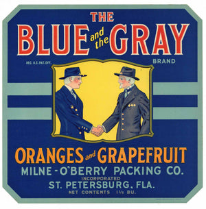 Blue And The Gray Brand Vintage Florida Citrus Crate Label