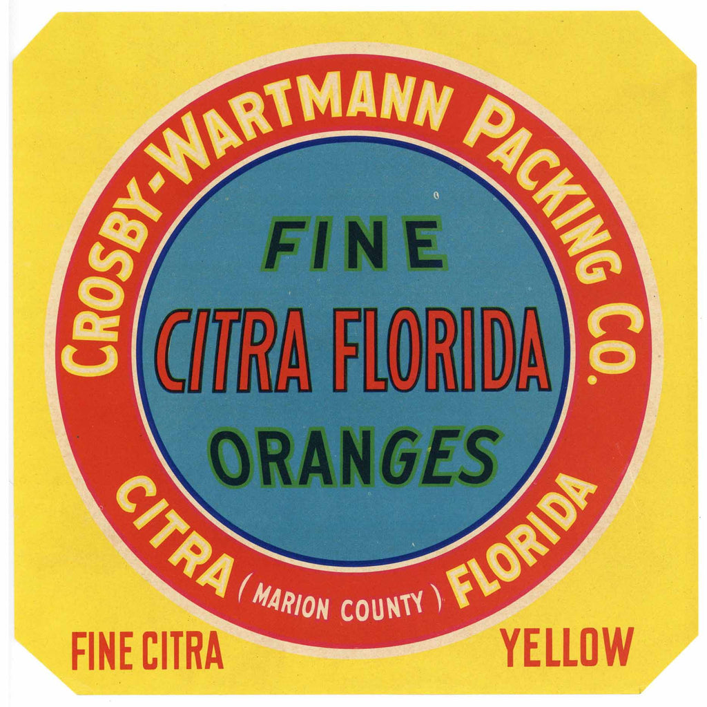 Citra Florida Brand Vintage Florida Citrus Crate Label, yellow