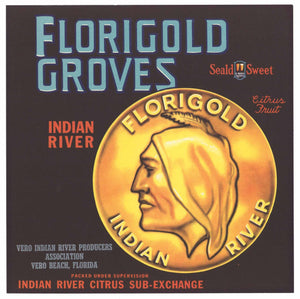Florigold Brand Vintage Vero Indian River Florida Citrus Crate Label, 9x9