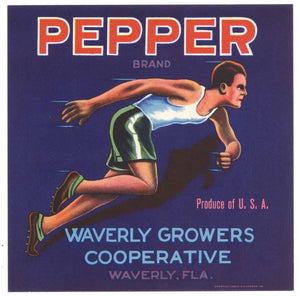 Pepper Brand Vintage Waverly Florida Citrus Crate Label, s